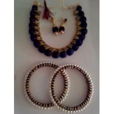 Silk Thread with blue metal