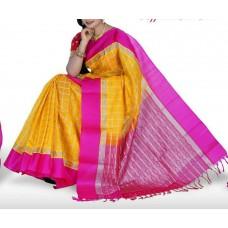 yellow and pink uppada silk saree