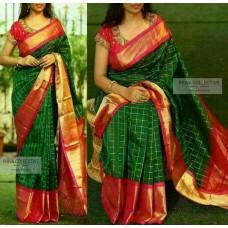 parrot green and red uppada silk saree