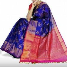 blue and pink uppada silk saree