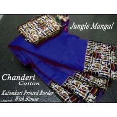 Chanderi cotton with kalamkari printed border